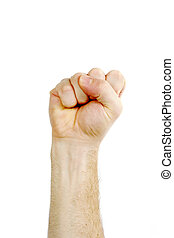 Isolated Fist - A male fist in the air isolated on white ...