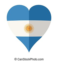 Isolated flag of Argentina on a heart shape