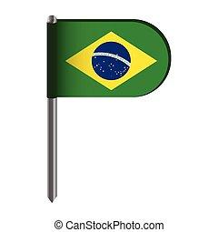 Isolated flag of Brazil