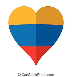 Isolated flag of Colombia on a heart shape