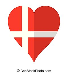 Isolated flag of Denmark on a heart shape