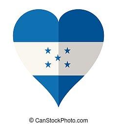 Isolated flag of Honduras on a heart shape