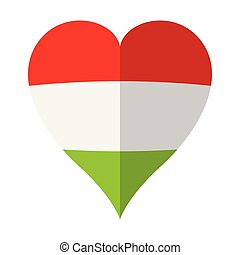 Isolated flag of Hungary on a heart shape