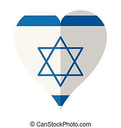 Isolated flag of Israel on a heart shape