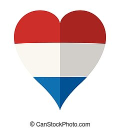 Isolated flag of Netherlands on a heart shape