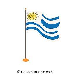 Isolated flag of Uruguay