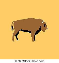 Isolated flat bison. Wild animal character icon