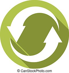 Isolated flat button (icon) for recycle in green color