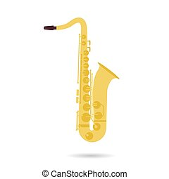 Isolated flat icon of saxophone