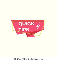 Isolated flat Quick tips icon with geometric ribbon shape and lightning sign