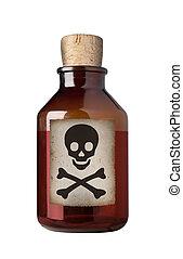 isolated., fles, gevormd oud, medicijn