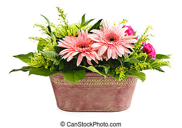 Isolated flower arrangement - Isolated floral arrangement...