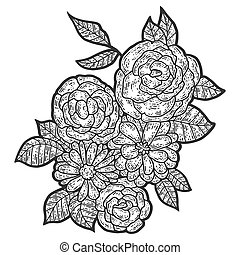 Isolated flower composition. Sketch scratch board imitation. Black and white. Engraving vector illustration.