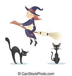 Isolated flying witch. - Isolated flying witch with black...