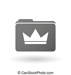 Isolated folder icon with a crown