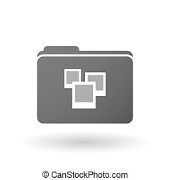 Isolated folder icon with a few photos