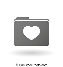 Isolated folder icon with a heart