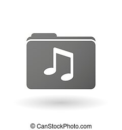 Isolated folder icon with a note music