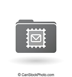 Isolated folder with  a mail stamp sign