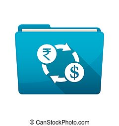 Isolated folder with  a rupee and dollar exchange sign