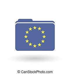 Isolated folder with  the EU flag stars