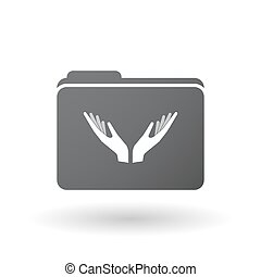 Isolated folder with  two hands offering