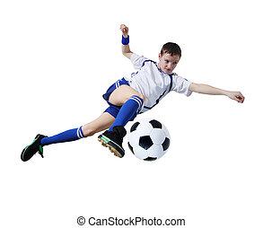 (isolated), footballer., balle, garçon, football