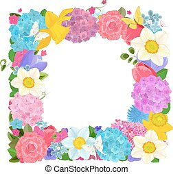 isolated frame with colorful spring flowers on white background