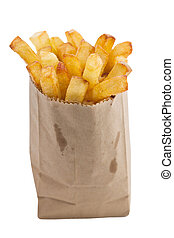 French fries in a small brown paper bag. Isolated on white background with clipping path. Shallow depth of field.