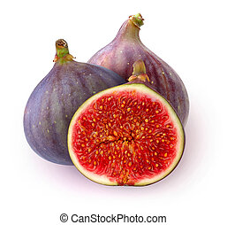 Isolated fresh figs