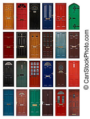 isolated front doors - A collection of residential front...