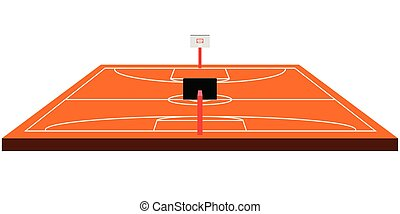 Isolated front view of a basketball court
