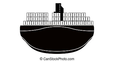 Isolated front view of a cargo ship icon