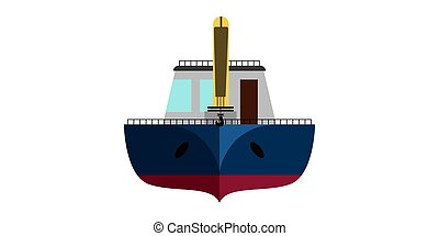 Isolated front view of a fishing boat