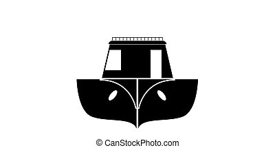 Isolated front view of a fishing boat icon