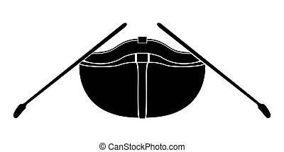 Isolated front view of a rowboat icon