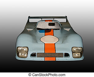 Isolated Front View of a Vintage Can-Am Race Car