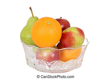 Fruit in glass bowl