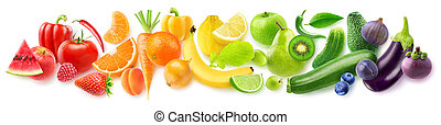 Isolated fruits in a line