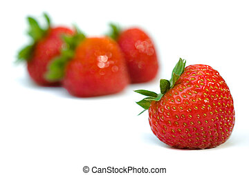 Isolated fruits - strawberries - Strawberries on white...
