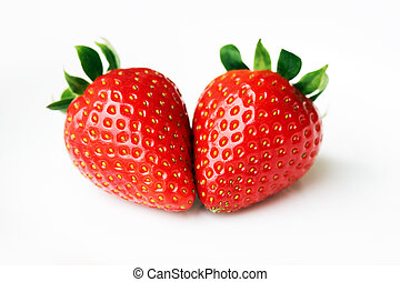 Isolated fruits - Two Strawberries Together on white background.