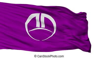 Isolated Fujioka city flag, prefecture Gunma, Japan -...