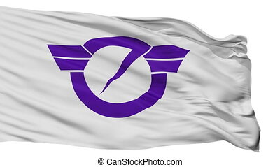 Isolated Fujisawa city flag, prefecture Kanagawa, Japan -...