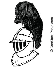 Isolated Full Face 16th Century War Helmet with Plumage