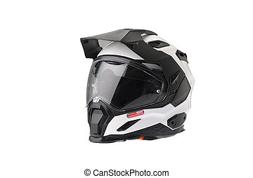 Isolated Full face Motorcycle white helmet.