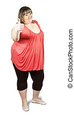 casually dressed large woman - Isolated full length studio ...