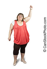 large woman - Isolated full length studio shot of a casually...