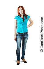 red-haired woman - Isolated full length studio shot of a ...