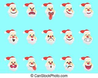 funny santa expression face icons