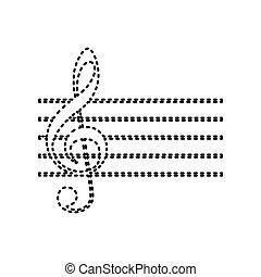 isolated., g-clef., segno., nero, fondo., musica, vector., dashed, violino, bianco, chiave, icona